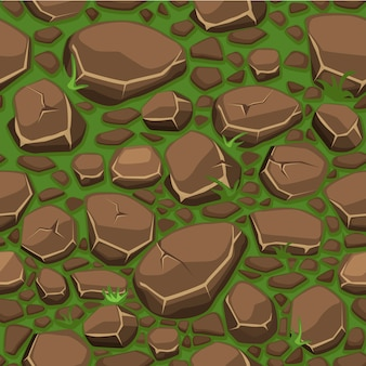 Pierre de dessin animé sur la texture de l'herbe en arrière-plan transparent de couleurs marron, vue de dessus