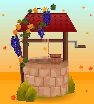 Pierre eau bien saison automne illustrations vectorielles