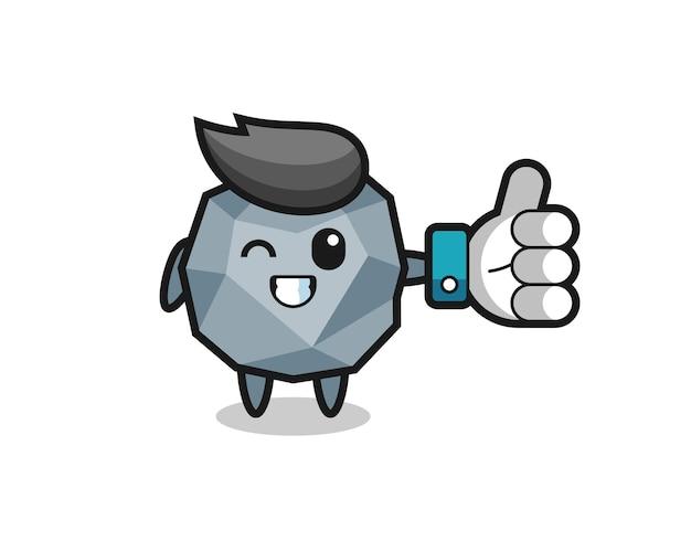 Pierre mignonne avec symbole de pouce levé sur les médias sociaux, design de style mignon pour t-shirt, autocollant, élément de logo