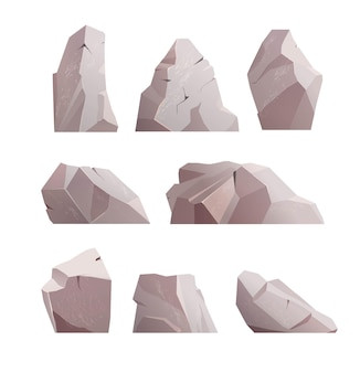 Pierre de roche isolée sur blanc