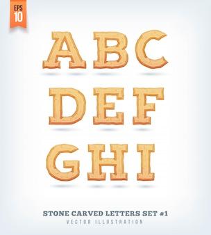 Pierre sculptée des lettres, des chiffres et des symboles de caractères. illustration.