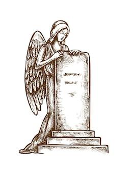 Pierre tombale de cimetière avec le croquis de sculpture d'ange d'isolement