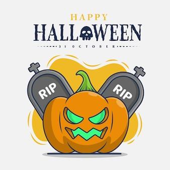 Pierre tombale et citrouille avec illustration d'icône de célébration d'halloween heureux