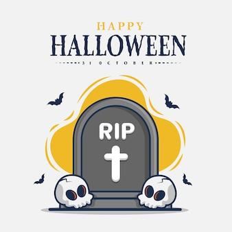 Pierre tombale et crâne avec illustration de l'icône halloween félicitations