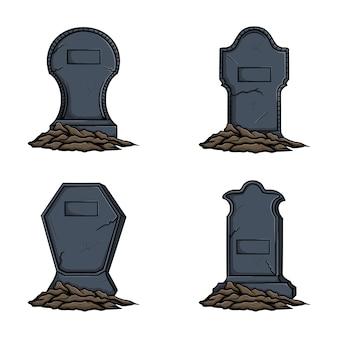 Pierre tombale avec illustration vectorielle au sol