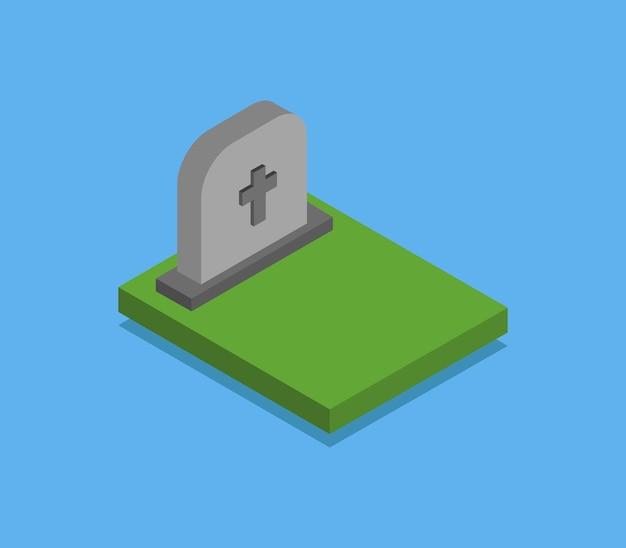 Pierre tombale isométrique