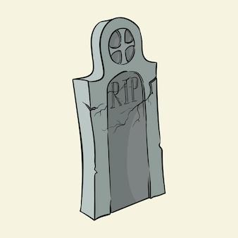 Pierre tombale tombale illustration vectorielle dessinés à la main isolé sur fond
