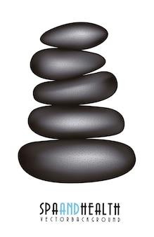 Pierres noires spa sur illustration vectorielle fond blanc