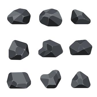 Des pierres polygonales balancent des éléments de graphite pour des jeux d'ordinateur et d'application structure quartz angulaire mi
