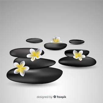 Pierres de spa réalistes avec des fleurs