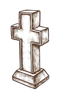 Pierres tombales et vieille croix chrétienne de marbre grave sur le blanc