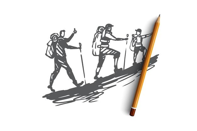 Piétons, tourisme, voyages, personnes, concept d'été. touristes dessinés à la main dans l'esquisse de concept de montagnes. illustration.