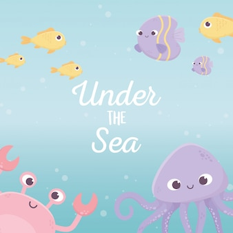 Pieuvre crabe poissons bulle vie dessin animé lettrage sous la mer