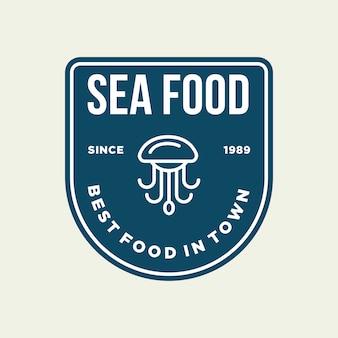 Pieuvre de fruits de mer pour la conception de logo de ligne de restaurant