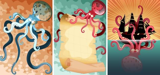 Pieuvre géante dans trois scènes différentes