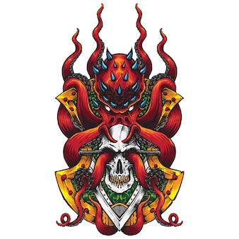 Pieuvre rouge mal et crâne insigne illustration