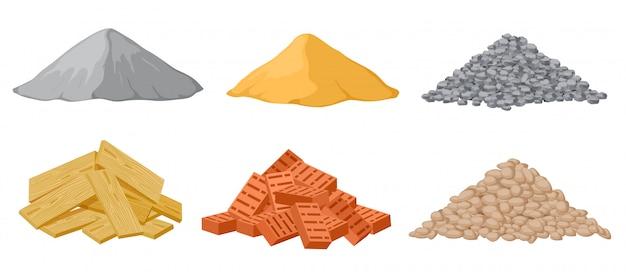 Pieux de matériaux de construction.