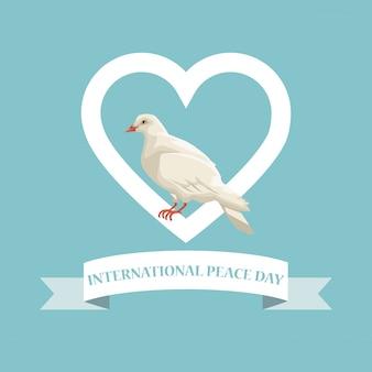 Pigeon d'affiche de couleur dans le cadre de forme de coeur