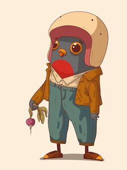 Le pigeon étonné dans le casque de moto tient le radis frais