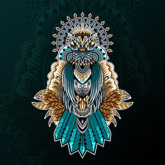 Pigeon avec ornement zentangle et illustration de mandala