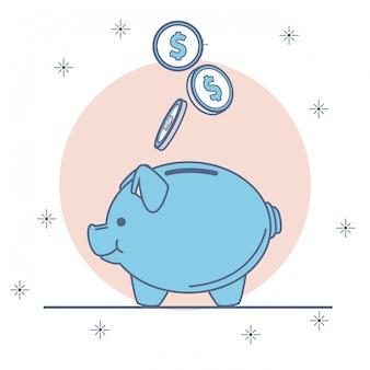 Piggy avec des dessins animés d'économies d'argent
