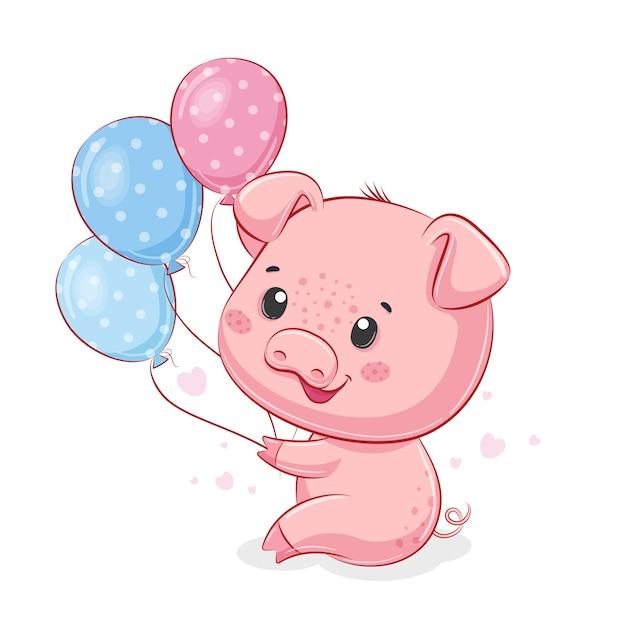 Piggy mignon avec des ballons.