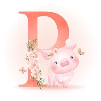 Piggy mignon doodle avec illustration florale