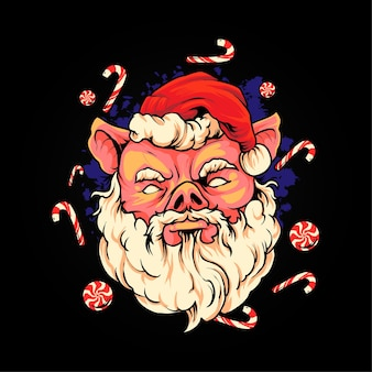 Piggy père noël illustration premium vecteur