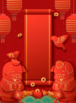Piggy portant des costumes traditionnels et payant un appel du nouvel an