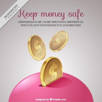 Piggy rose banque fond