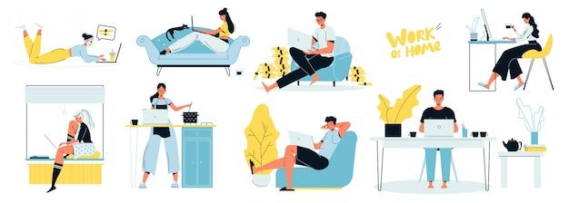 Pigiste de personnes travaillant sur ordinateur portable à la maison