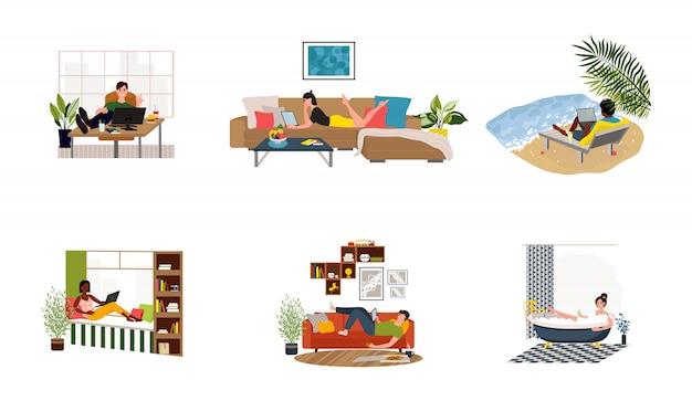 Les pigistes travaillent dans des conditions confortables. les gens à la maison en quarantaine.