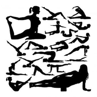 Pilates pose des silhouettes
