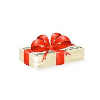 Pile de billets d'un dollar avec bow