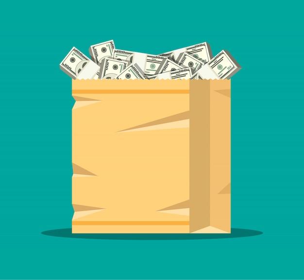 Pile de billets en dollars dans un sac à provisions en papier.