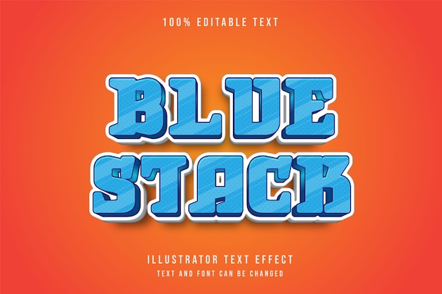 Pile bleue, style comique de dégradé bleu effet texte modifiable 3d