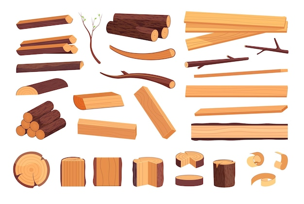 Pile de bois dur, planche, souche et ensemble d'anneaux. tronc de chêne ou de pin, tas de bois et branche pour le bois de chauffage, illustration vectorielle de l'industrie forestière et du bois d'œuvre isolé sur fond blanc