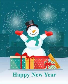 Pile de coffrets cadeaux emballés colorés et bonhomme de neige. illustration vectorielle