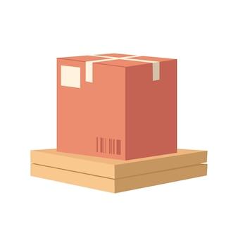 Pile de colis semi-plat illustration vectorielle de couleur rvb. livraison à domicile de marchandises et d'aliments. envoi postal de liasse. pack pour déménager. objet de dessin animé isolé de tas de colis sur fond blanc