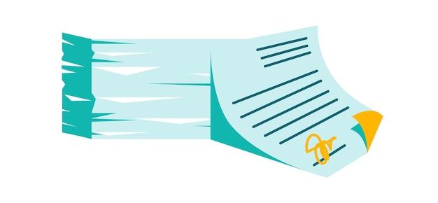 Pile de documents papier et accord de signature avec joint, illustration de vecteur de dessin animé isolé sur blanc