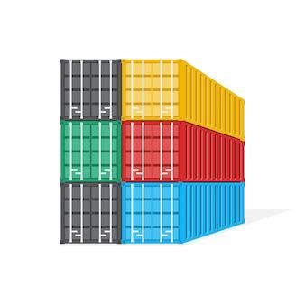 Pile du concept de conteneur, de logistique et de transport, illustration.
