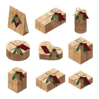 Pile d'ensemble isométrique de coffrets cadeaux