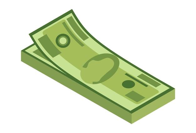 Pile isométrique d'argent. icône de devise ou de trésorerie. liasse de billets de banque. pile de symbole de trésorerie