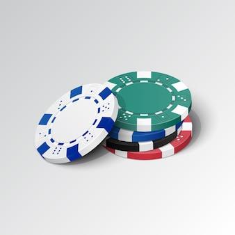 Pile de jetons de casino détaillés