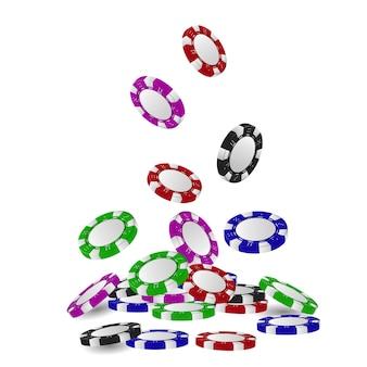 Pile de jetons de jeu 3d ou tas de jetons de casino réalistes qui tombent, roulette volumétrique et blackjack, argent de poker sportif ou cash. pari et succès, gagnant et chance, thème du divertissement.
