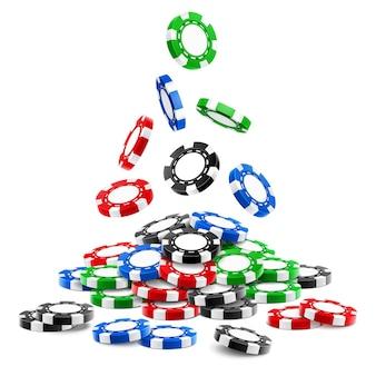Pile de jetons de jeu d ou tas de chutes de jetons de casino réalistes, roulette volumétrique et