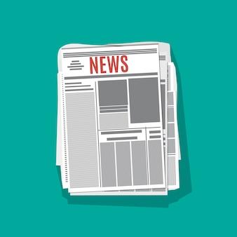 Pile de journaux avec une ombre au design plat