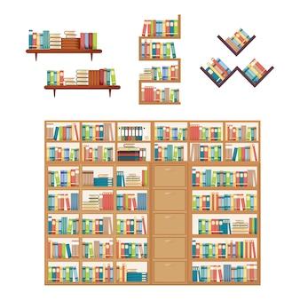 Pile de livre sur étagère bibliothèque meuble bibliothèque