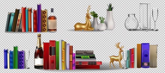 Pile de livres colorés avec l'icône de couleur d'étagère de signets pour la conception de sites web