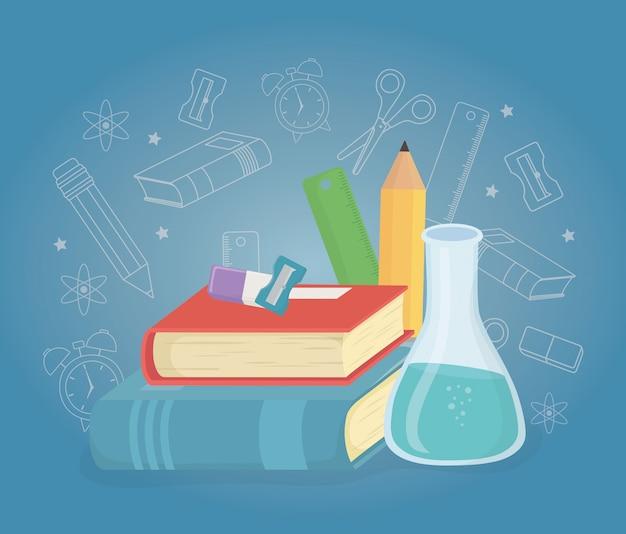 Pile de livres et de fournitures à l'école